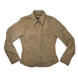 Roper Western leather khaki jacket